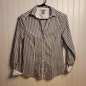 H & M Button Front Striped Shirt Sz 8 EUR 38